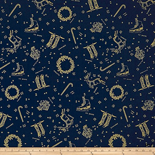 (Andover Good Cheer Deck The Halls Metallic Winter Night Fabric by The Yard)