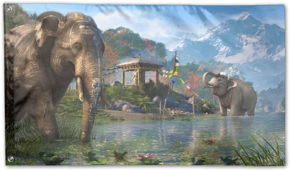 Amazon Com Colby Keats Elephant Far Cry Garden Lawn Flags Indoor Outdoor Decoration Home Banner Polyester Sports Fan Flags 3 X 5 Foot Garden Outdoor