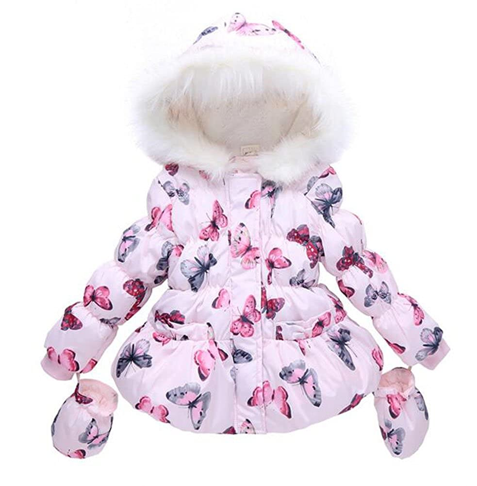 LUKYCILD Baby Girl Butterfly Pattern Outwear Winter Warm Hoodie Down Jacket Coat W026-12-5254-1828271