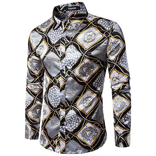 (YIMANIE Mens Regular Fit Long Sleeve Shiny Silk Like Satin Dance Prom Luxury Dress Shirt Camouflage Tops (Crown Plaid Printing, XX-Large))