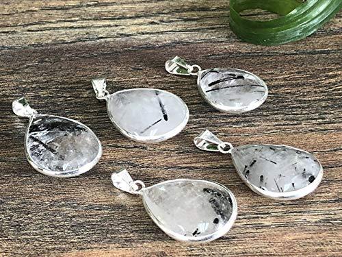 Dan Pratt 1 Quartz Black Tourmaline Pendant Silver Plated Gemstone Specimen Reiki Chakra