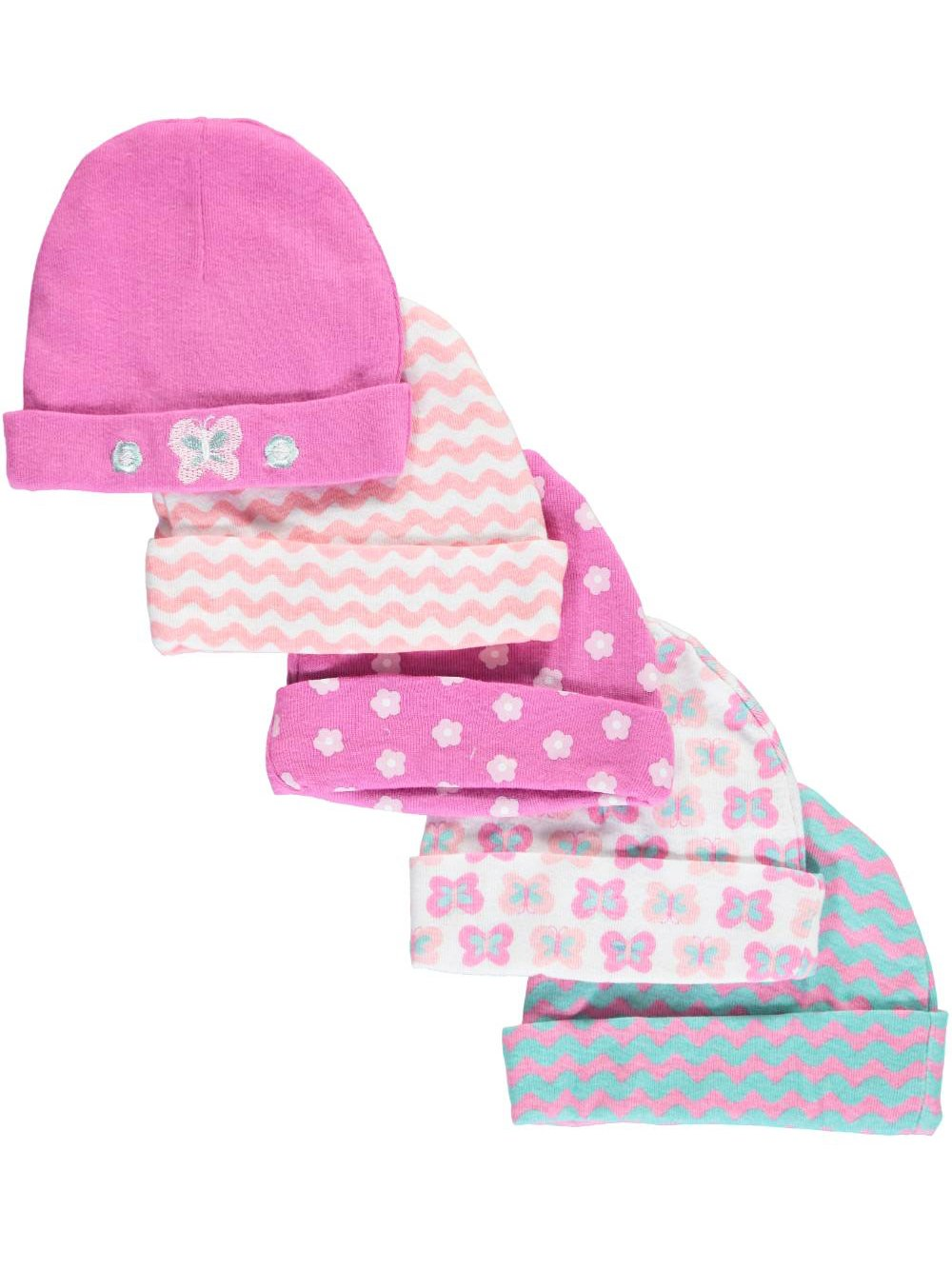 Cribmates Baby Girls' Butterfly Stripes 5-Pack Caps - pink/multi, 0 - 6 months CM41266