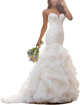 Plus Wedding Dresses Mermaid Bridal Gowns White Ivory Beaded Cap Sleeves Straps