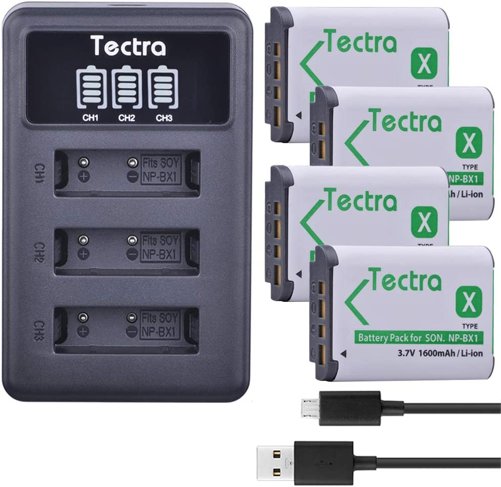 Tectra 4 Pack NP-BX1 Batteries and 3-Channel LED Display Charger Kit Compatible with Sony DSC-RX100M III, DSC-RX1, DSC-RX100 V, DSC-HX300, HDR-CX240, HDR-PJ275, HDR-AS30V, HDR-CX440, HDR-CX40 Cameras