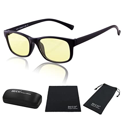 5244c9498d Duco Full Rim Ergonomic Advanced Computer Gaming Glasses with Amber Lens  Tint 8016 Matte Black