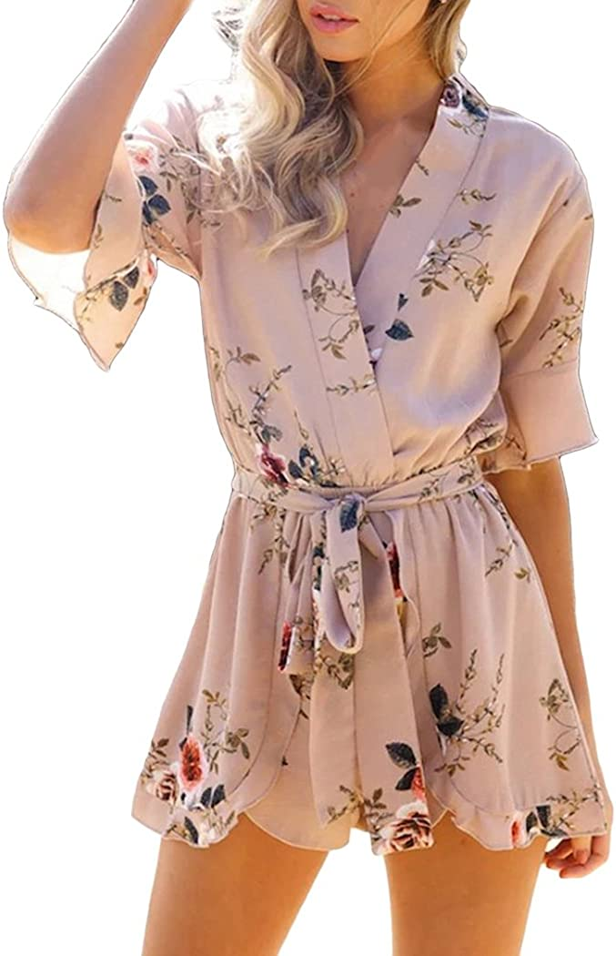 XWDA Straps Jumpsuits Women Tie Up Short Outfits Overalls Casual One Piece Playsuit Romper