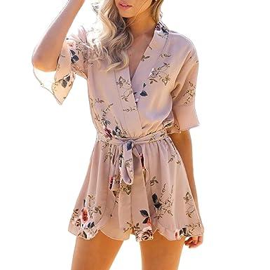 6282c0d5447 Amazon.com  XWDA Women s Jumpsuit Cotton Floral Print Summer Beach ...