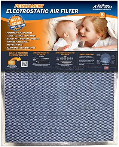 Air-Care 16x20x1 Silver Electrostatic Washable A/C Furnace Air Filter – Limited, Never Buy Another Filter!! – Made In the USA