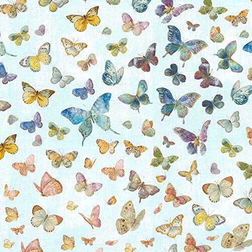 Butterfly Haven Floral Butterflies Cotton Fabric by Wilmington Prints