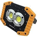 新製品 led投光器 充電式 20W LED作業灯 IP55防水 6400mAh可充電電池内蔵 2000ルーメ超明るい USBポート付 兼用 漁船のledライト、緊急灯、キャンプ、屋外用の作業灯を主導 日本語取説付き