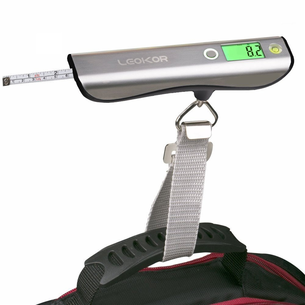 Luggage Scale, LEOKOR Hand Scales with Tape Measure for Travel Baggage Weight (Black) by LEOKOR