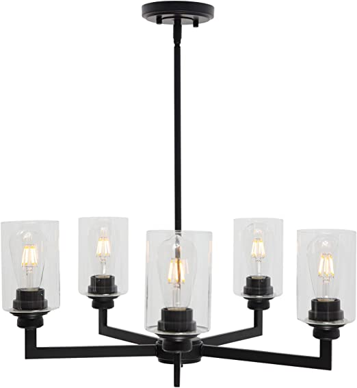 VINLUZ Farmhouse Chandeliers Black 5 Light Dining Room Lighting Fixtures Hanging Modern Industrial Pendant Lighting with Clear Glass Shade for Living Room Kitchen Island Bedrooms