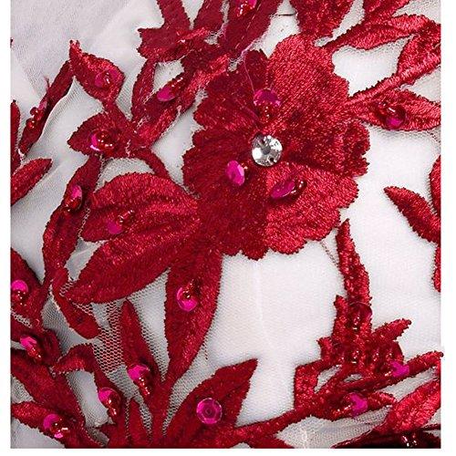 Faltenkleid Kleid Young Retro Kleid ärmelloses Damen Polka Kleid bodenlanges June's Dot Rot Stil qz1FFW