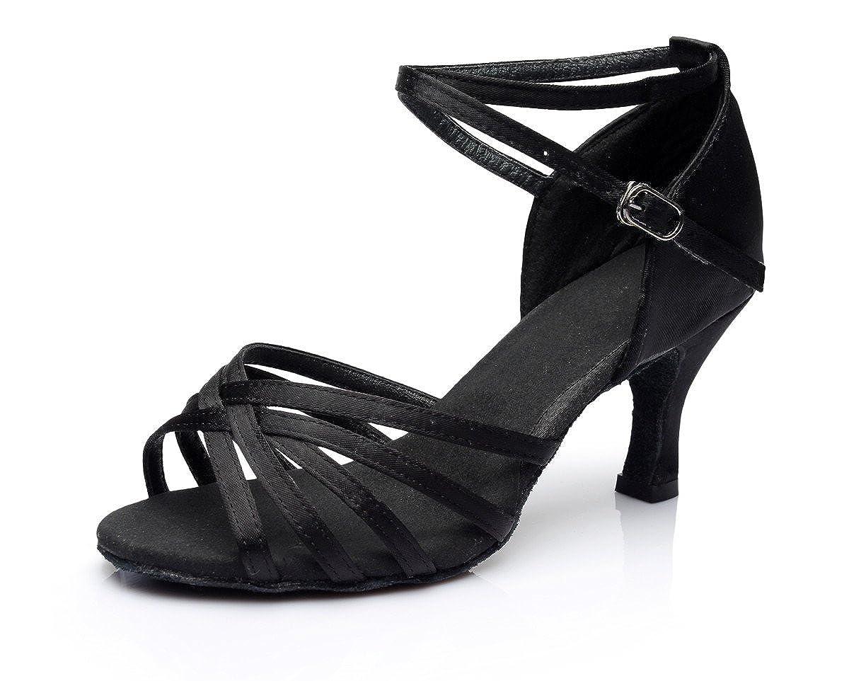 VESI-Zapatos de Baile Latino de Tacón Alto/Medio para Mujer Negro 41 VZA0001H41