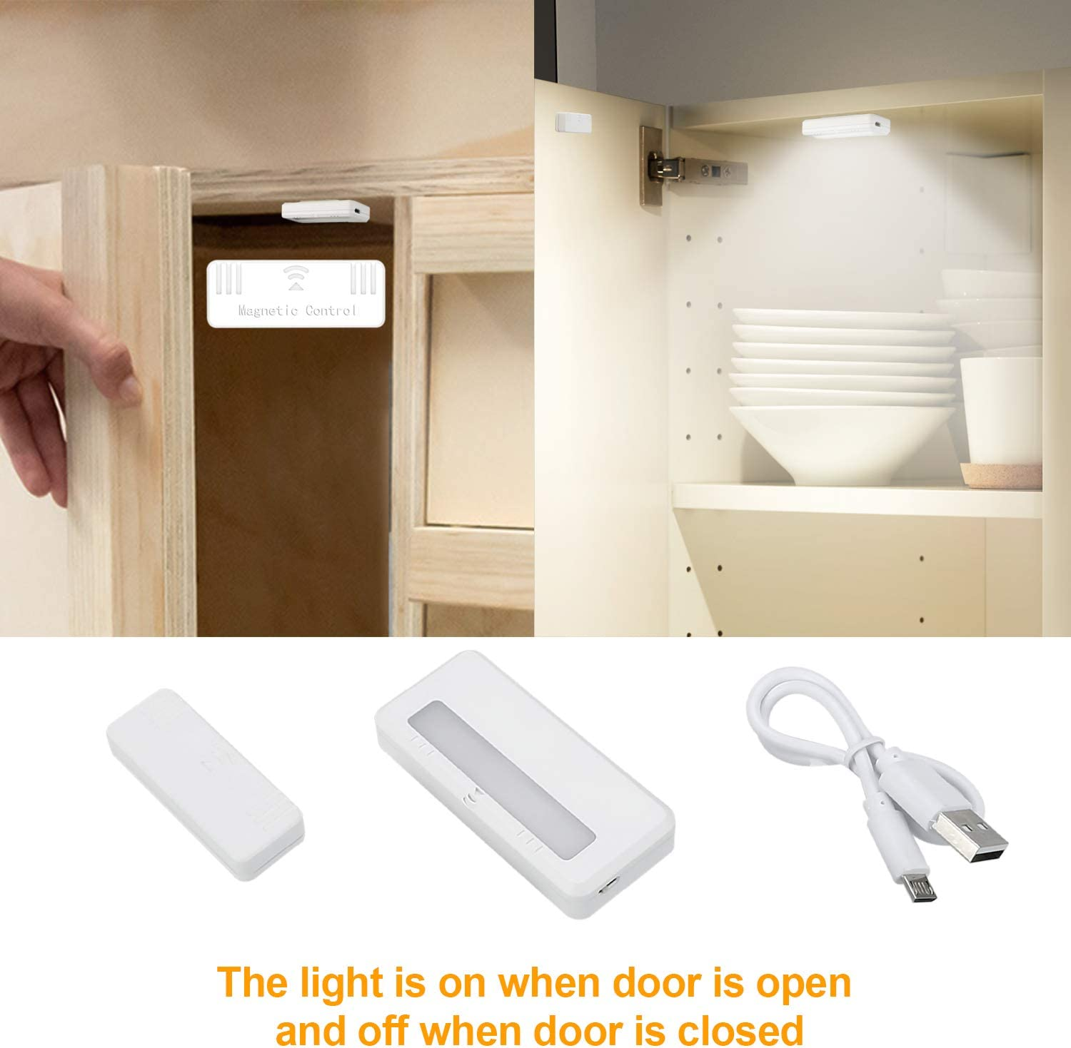 AMANEER Rechargeable Portable Motion Sensor Light Magnetic Removable Puck Lights Small LED Flashlight Mini Night Lights for Wardrobe Counter Closet Storage Boxes Bedside Table Drawer Lighting 2 Pack
