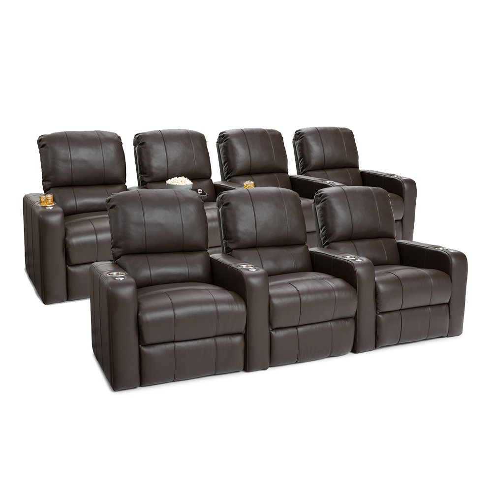SEATCRAFT Millenia Leather Home Theater Seating Power Recline, Row of 3 and Row of 4, Brown