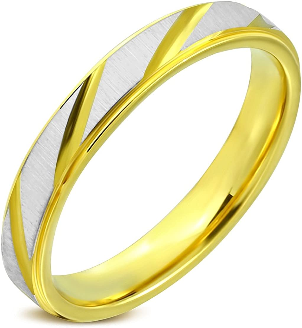 Stainless Steel Satin Finished 2 Color Diamond-Cut Striped Step-Edge Comfort Fit Half-Round Wedding Band Ring