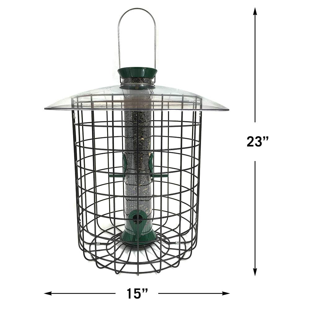 Droll Yankees Domed Cage Sunflower Seed Bird Feeder, 15 Inches, 4 Ports, Green