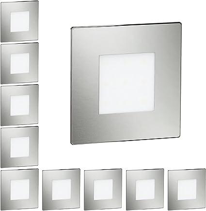 ledscom.de LED lámpara de Escalera FEX lámpara empotrable en la Pared, Angular, 8,5x8,5cm, 230V, Blanca cálida, 10 UDS: Amazon.es: Electrónica