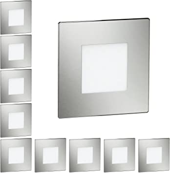 ledscom.de LED lámpara de escalera FEX lámpara empotrable en la pared, angular, 8,5x8,5cm, 230V, azul, 10 UDS: Amazon.es: Iluminación
