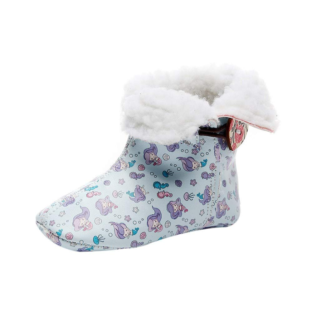 Age:0-3Months, Multicolor EnjoCho 0-3Years Winter Warm Plush Baby Girls Snow Boots Shoes Pu Flat with Baby Toddler Shoes Outdoor Snow Boots Girls Baby Kids Shoes