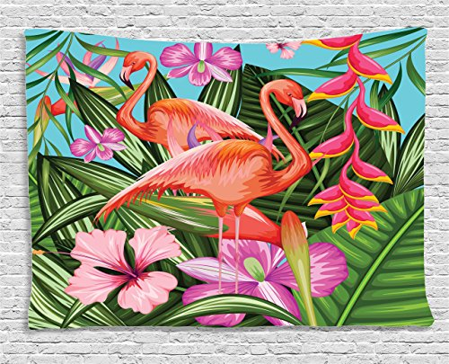 Ambesonne Flamingo Tapestry, Illustration of Flamingo with Tropical Garden Hibiscus Flower Plant Vintage, Wall Hanging for Bedroom Living Room Dorm, 60 W X 40 L inches, Green Pink Blue from Ambesonne