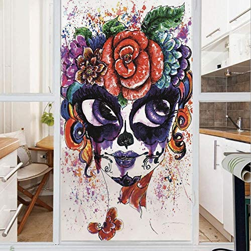 Decorative Window Film,No Glue Frosted Privacy Film,Stained Glass Door Film,Watercolor Painting Style Girl with Make Up and Floral Crown Big Eyes Decorative,for Home Office,23.6In. by 78.7In Multico