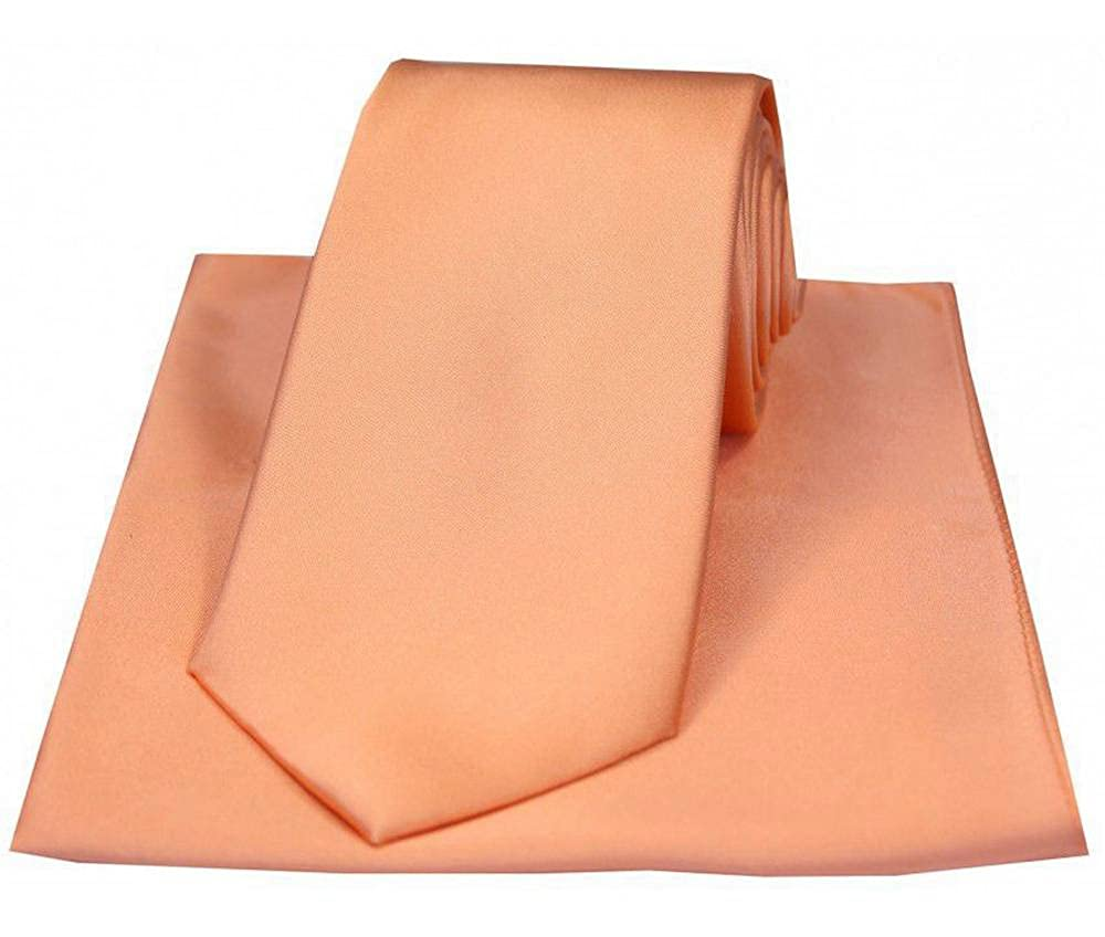 David Van Hagen Mens Satin Matching Tie and Handkerchief Set Peach