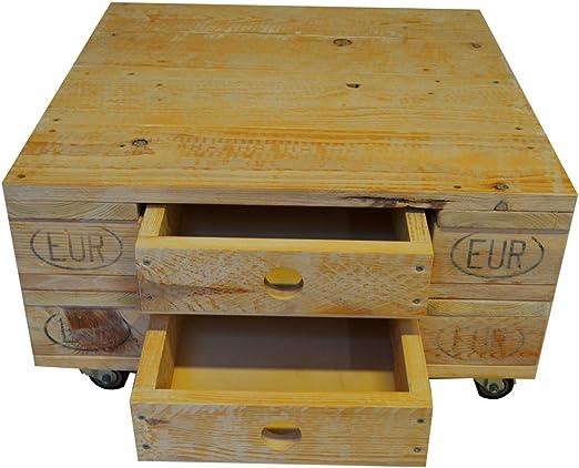 Mesa de café/Roll mesa hecho de Reciclado Euro palets con ruedas ...