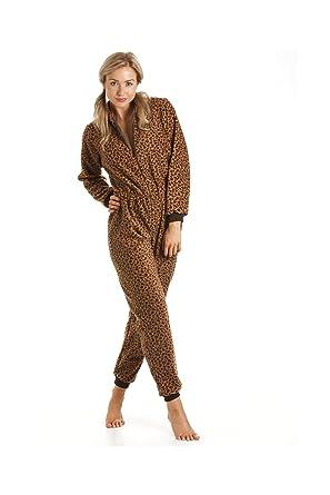 c4ff01957068 Damen Schlafanzug-Einteiler aus Fleece - Leoparden-Muster Gold  Braun - Größen  36-50 Camille