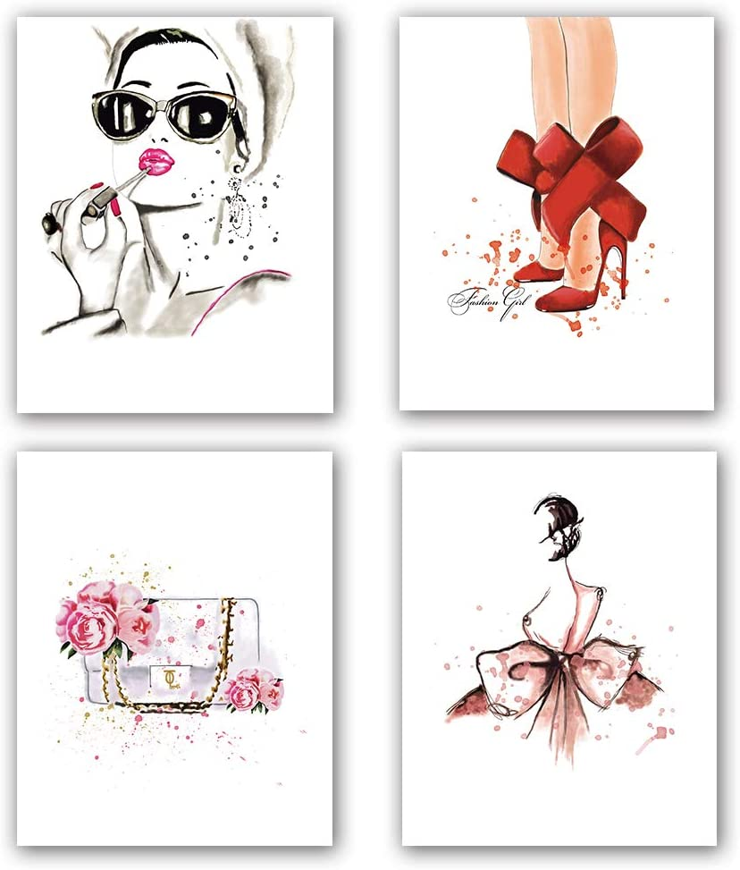 "Fashion Women Art Print Set of 4 (8""X10""Minimalist Makeup Art, Fashion Lipstick, Red High Heels, Handbag Printing for Women Gifts, Vogue Canvas Wall Art Poster for Girls Room Decor, No Frame"