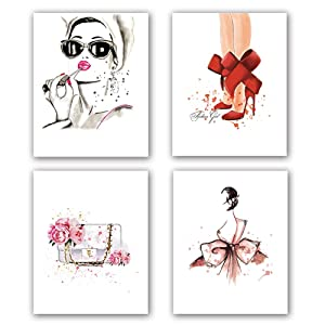 "Fashion Women Art Print Set of 4 (8""X10""Minimalist Makeup Art, Fashion Lipstick, Red High Heels, Handbag Printing for Women Gifts, Vogue Canvas Wall Art Poster for Girls Room Decor, No Frame"