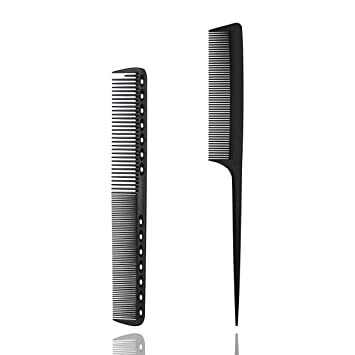 xnicx Black Cutting Comb Rat Tail Comb Set Frizz Free 180℃ Heat Resistant  Tail Comb for Hair Cutting