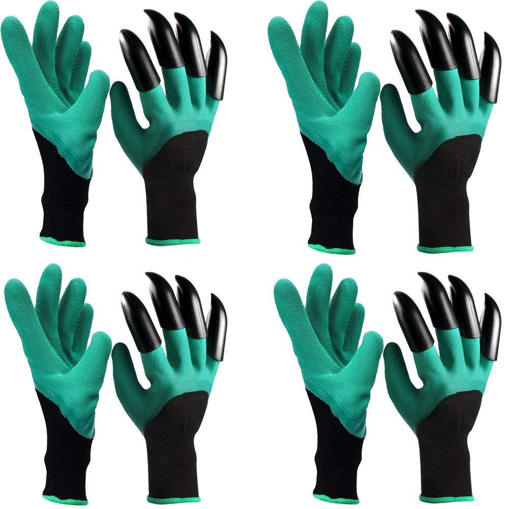 Vintagebee 4 Pairs Garden Genie Gloves with Fingertips Claws Quick & Easy to Dig and Plant Safe for Rose Pruning, Digging & Planting Nursery Plants,Best Gift Gardening Tool,Father's Day gift