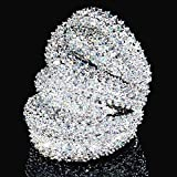 Alamana Women Jewelry Decor Gift Luxur Multilayer Cubic Zirconia Plated Finger Ring Silver US 9