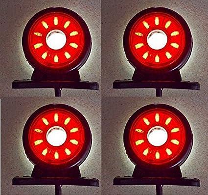 camping-car pour ch/âssis 4/feux d/'encombrement LED rotatifs 24/V blancs et rouges caravanes camionnettes bus camions remorques