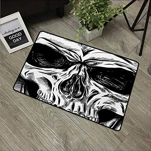 Halloween,Kitchen Mat Gothic Dead Skull Face Close Up Sketch Evil Anatomy Skeleton Artsy Illustration W 16