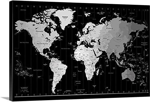 World Timezone map Canvas Wall Art Print