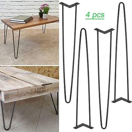 4 patas de mesa, horquilla de hierro negro, patas de muebles ...