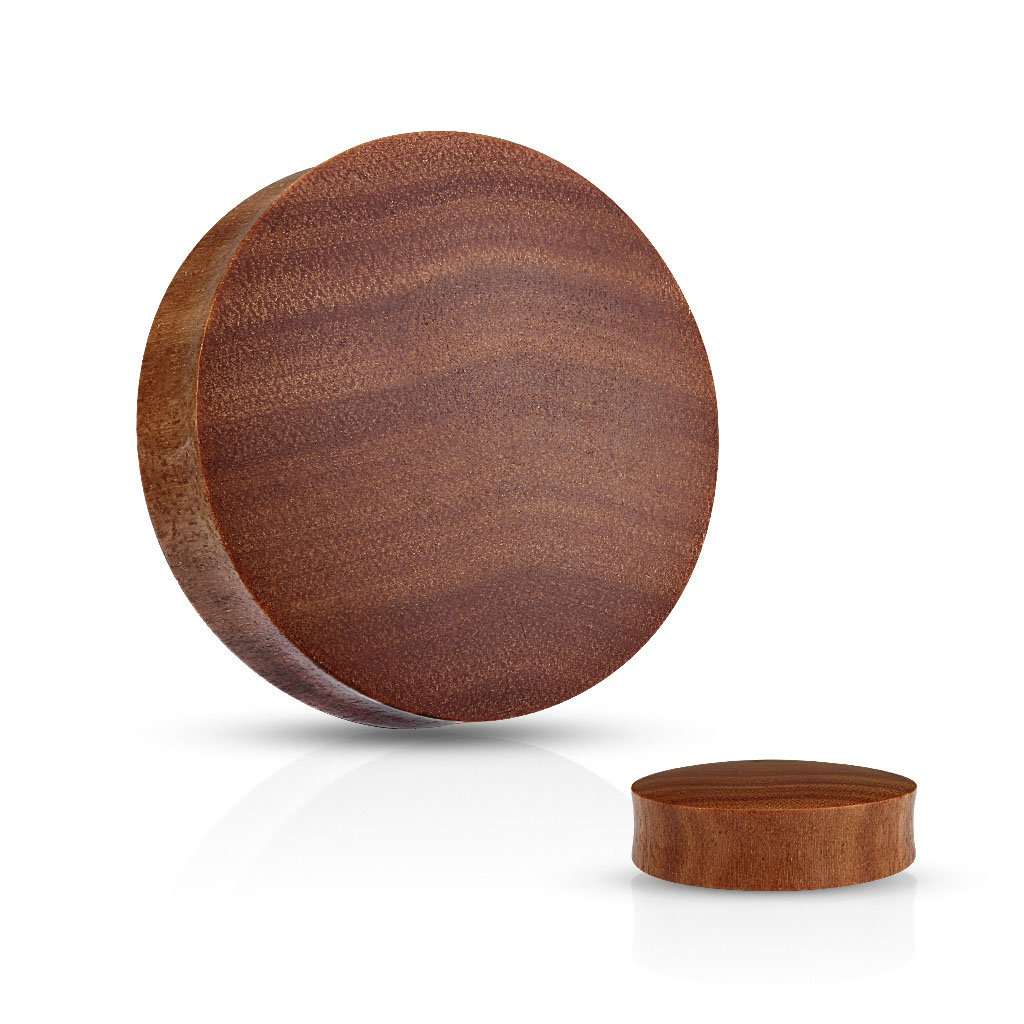 Pair of Convex Saddle Fit Saba Wood Organic Plugs (Sizes From: 6GA to 1 3/8 Inch) E538 (1'' (25mm)