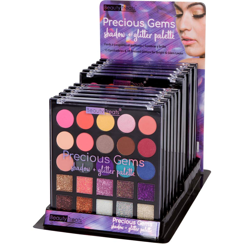 Beauty Treats Precious Gems Shadow and Glitter Palette For Bright and Glamorous Look- High Pigmente Long Lasting Colors