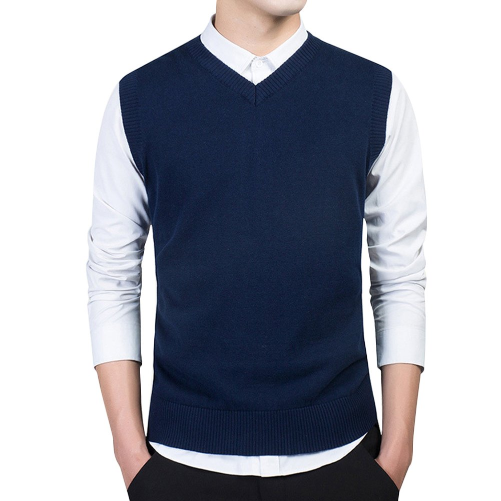 VERYCO Mens Knitted Tank Top Sweater Vest Plain Sleeveless V Neck Jumper Knitwear