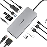 UPGROW USB C Hub, 13-in-1 Type-C Hub with 4K HDMI,VGA, 2 USB 3.0, 3 USB 2.0, USB C/F, USB C Charger, SD/TF, RJ45 Ethernet, Mi