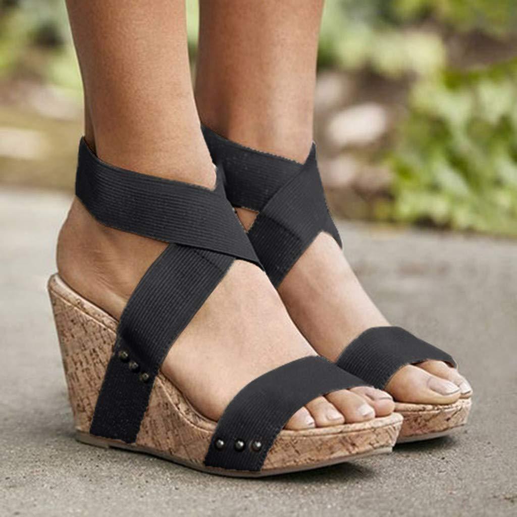 Corriee Womens Wedge Sandal Summer Work Shoes Ladies Elegant Elastic Band Thick Bottom Sandals