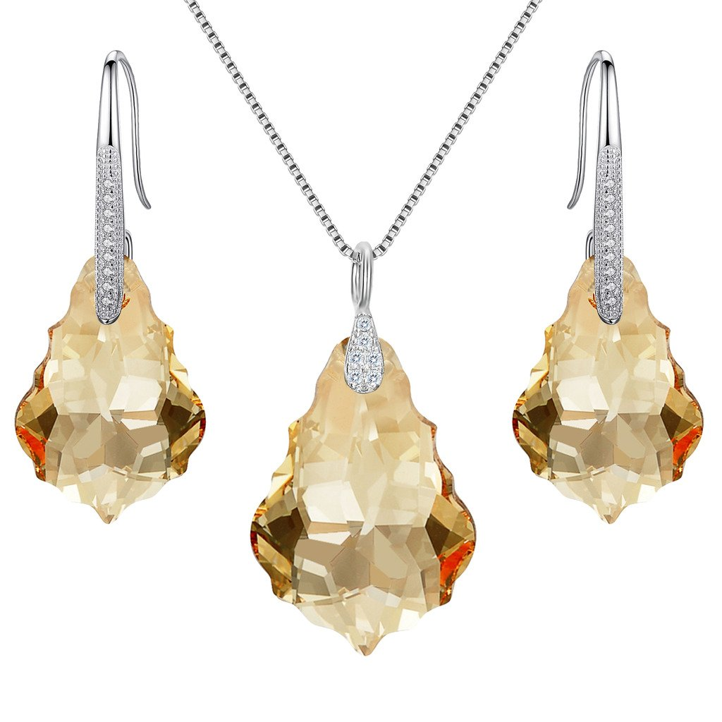 EleQueen 925 Sterling Silver CZ Baroque Drop Pendant Necklace Dangle Earrings Set Light Colorado Topaz Color Made with Swarovski Crystals