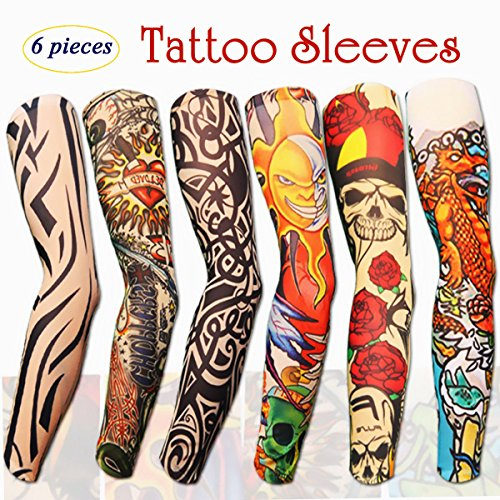 Arts Fake Temporary Tattoo Sleeves That Look Real, Skull Tribal Mix Style Arm Sunscreen Stockings