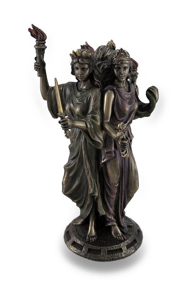 Bronze Finish Triple Form Hecate Greek Goddess of Magic Statue by Unknown
