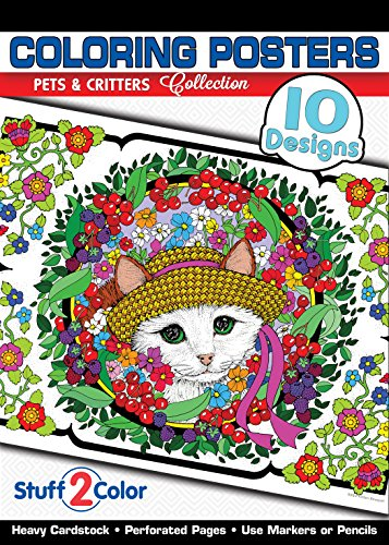 (Pets and Critters - Premium Coloring Poster Tablet (10 Designs))