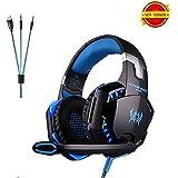 [Autorizzato] Daping G2000 Cuffie gaming a Padiglione LED Cuffie da Gioco con Microfono Stereo Bass Regolatore di Volume, USB 3.5mm per PS4 PC Cellulari (Nero e blue)