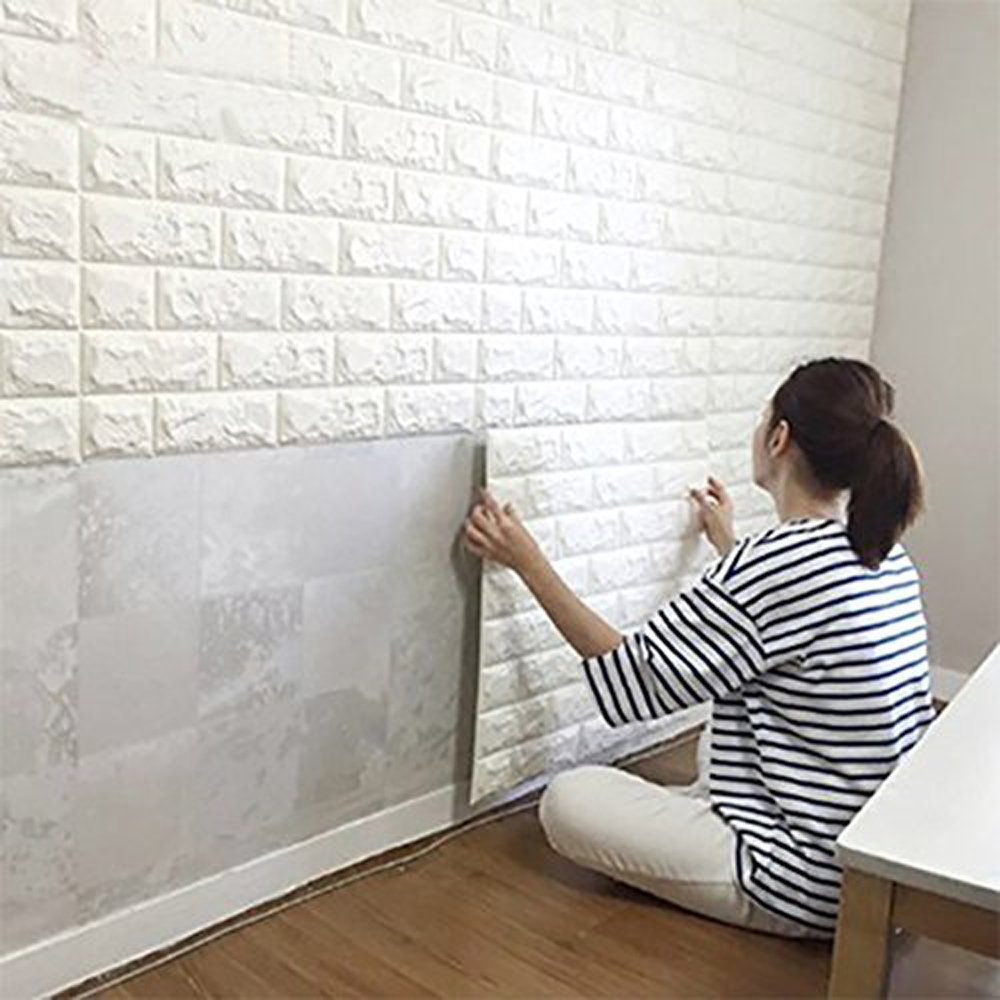 OMG_Shop 3D Brick Pattern Wall Stickers Self-adhesive Panel Decal White Brick PE Wallpaper for TV Sofa Background Living Room Decoration (10 Pack/60x30cm)